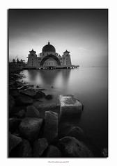 Malacca Straits Mosque (GilbertChuaCS) Tags: bw sea tourism travel malaysia malacca mosque longexposure gnd09 nisi leefilter bigstopper samyang ilce6000 sony