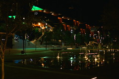 night shot of ICS international convention centre main building - Sydney NSW - Autumn 2017 (nicephotog) Tags: ics convention centre international sydney haymarket nsw building architecture night fountain water courtyard forecourt