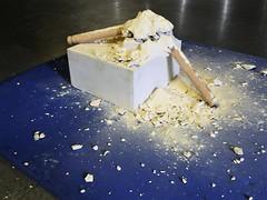Another Fine Mess (2017 version) (foggodavid) Tags: anotherfinemess rollingpin flour plaster floorsculpture plinth davidfoggo