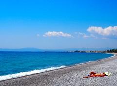 Easter in Kalamata (kallchar) Tags: beach sea ocean sun clouds sky relaxation woman swimming kalamata greece landscape blue easter flickr olympus olympusomdem10 hot