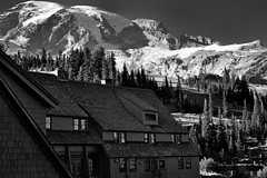 A Balcony View to Mount Rainier at the Paradise Inn (Black & White) (thor_mark ) Tags: 14158feet 4315meters anvilrock aroundparadiseinn balconyview blackwhite blueskies capturenx2edited cascaderange cathedralrocks colorefexpro columbiacrest day5 evergreen evergreentrees evergreens gibraltarrock glacier glaciers hillsideoftrees lodge lookingnorth miscellaneous mountrainier mountrainierarea mountrainiermassif mountrainiernationalpark mountains mountainsindistance mountainsoffindistance nature nikond800e nisquallyglacier pacificranges paradiseinn paradiseinnarea pointsuccess portfolio project365 snowcapped southwashingtoncascades trees triptomountrainierandcolumbiarivergorge wa unitedstates