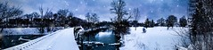 Snow Panorama (Mach-One-Photography) Tags: photography photograph photographer canon rebelt6 1300d photoshop lightroom edit winter snowfall ice water frozen river bridge train tracks abandoned fresh chilly panorama
