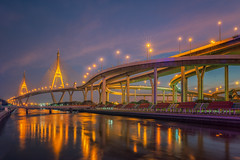 Rama nine bridge (anekphoto) Tags: rama bridge 9 king bangkok thailand twilight landmark sky architecture city engineering suspension bhumibol design traffic water landscape construction thai view transportation blue travel building line urban road industrial concrete sunset river modern district sun set night asia nine car pass pavilion park street way drive sling sunrise bottom side