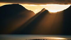 Isle of Rum from Eigg (alanbill99) Tags: isle rum eigg sunset rays sea
