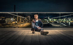 Hang Out (Edgar Myller) Tags: street light night lamp portrait man sitting kaide floor terrace löylyhuone terassi chill lounge city sky artistic wood hangout hang out outdoor potretti godox ad360 sigma art 35mm