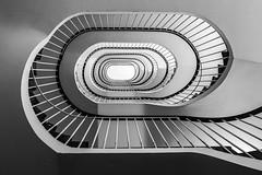 Metallica (Elbmaedchen) Tags: staircase stairs treppenhaus treppenauge schnecke spirale spirals escaliers escaleras blackandwhite schwarzweis bw helix metallic wendeltreppe roundandround