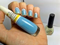 Desafio dos Clássicos #6 - Marina. (Raíssa S. (:) Tags: esmalte unhas nails azul blue cremoso nailpolish naillacquer nailart glitter white dote impala desafiodosclássicos light