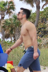 Beach hottie.  Someone bit him already (LarryJay99 ) Tags: dude hottie nipple dudes guys profile goateedmustache shirtless walking peekingpits facialhair toes pits man swintrunks nipplesarmshairy knees goatee legs glasses nipples butts feet men hairychest neck male sexyman face canon60d bokeh guy facialbeach canonefs18135mmf3556is