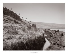 Around the Bend (Rory Prior) Tags: mediumformat craggvale grass sunny valley spring withensclough bronica etrs wall calderdale curve film yorkshire gully moor hillside ditch etrsi ilfordfp4plus reservoir path drainage landscape fence