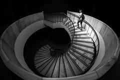 the other end of nautilus / it's the end of world, as we know it (Özgür Gürgey) Tags: 2017 archaeologymuseums bw d750 nikon samyang architecture candid fisheye lines spiral stairs istanbul turkey