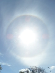 Eye in the sky (Nekoglyph) Tags: halo sun sky spring cold ice crystals atmosphere whitby yorkshire circular lensflares clouds rainbow bright shining light eye