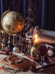 The Desktop (memoryweaver) Tags: memoryweaver pocketwatch compass globe seal sealing wax manuscript vellum documents warm flame lantern kerosene paraffin light lamp oillamp glass wine books leatherbound antiquarian antiques vintage study desktop