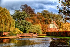 Across The Pond (Light+Shade [spcandler.zenfolio.com]) Tags: 2016 england hdr northyorkshire york yorkshire ©stephencandlerphotography spcandler stephencandlerphotography httpspcandlerzenfoliocom stephencandler uk lightshade rowntreespark trees lake pond water park bridge building
