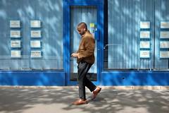 Blue shadow 70-2017 ( serie walkers ) (Kairos !) Tags: walker walkers walk walking shadow blue urban city street streetview streetwalk streetphotography streetphotographer fujifilm fujixt10