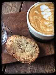 Cappuccino & Biscuit (Prosecco Thyme) Tags: stilllife coffeeshop food texture treat sweet shortbread brownbeige photography caffeine snack cookie biscuit beverage drink coffee cappuccino