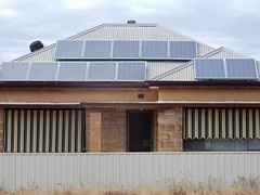 Panels and Blinds (mikecogh) Tags: solarpanels roof bland blinds fence weeds croydon solarpower sandstone