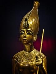 Closeup of gold figurine of King Tutankhamun standing on the back of a leopard New Kingdom 18th Dynasty 1332-1323 BCE (mharrsch) Tags: figure figurine sculpture statue pharaoh king ruler tutankhamun burial tomb funerary 18thdynasty newkingdom egypt 14thcenturybce ancient discoveryofkingtut exhibit newyork mharrsch premierexhibits gold