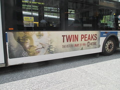 Twin Peaks Bus AD Billboard Poster 4928 (Brechtbug) Tags: twin peaks the return bus ad billboard poster laura palmer sheryl lee fbi agent dale cooper kyle maclachlan mystery 90s show showtime type mysterious bird birds owl owls may 05212017 9pm 2017 what they seem that gum you like is going come back style nyc broadway 24th st near madison square park flat iron flatiron building midtown manhattan street new york city streets downtown
