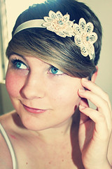 Headband (~Natalie Hope~) Tags: flowers portrait selfportrait girl blueeyes shorthair headband