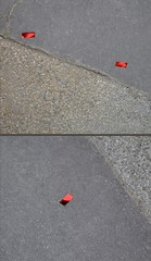 Confetti (Machicouly) Tags: street pink red urban paris rouge calle rojo diptych pavement ciudad confetti sidewalk urbano serendipity rue diptyque ville trottoir urbain acera diptico machicouly