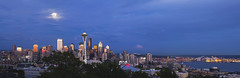 Supermoon Over Seattle (David Gn Photography) Tags: seattle city travel blue sunset sky panorama usa moon tourism skyline landscape rising evening washington downtown cityscape unitedstates dusk queenanne hill scenic super hour pacificnorthwest northamerica spaceneedle pugetsound kerrypark touristattraction supermoon