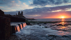 Reculver (Scott Baldock Photography) Tags: old uk sunset sea bw sun colour castle abandoned clouds canon coast waterfall kent seaside ruins long exposure day cloudy decay north estuary setting riverthames decaying 6d reculver nd106