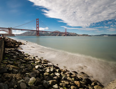 Smoke on the water (morozgrafix) Tags: sanfrancisco california longexposure blue sky water clouds rocks waves unitedstates cloudy wave goldengatebridge nd sanfranciscobay ndfilter sigma1020mmf456 nikond7000