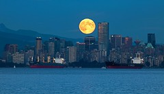 Harvest Moon in the City (gordeau) Tags: moon vancouver cityscape bc gordon ashby flickrchallengegroup flickrchallengewinner thechallengefactory gordeau