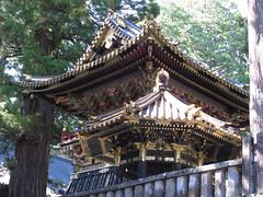 gold leaf (conskeptical) Tags: wood trees roof sky building leaves japan religious outdoors gold shrine paint vegetation nikko ornate pillars eaves