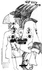 OL' SIX EYES (AND FRIENDS) (Nathan Wade Carter) Tags: men boys faces drawing sketchbook bignose shiva abs sixpack argus shortshorts sixeyes