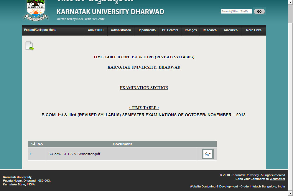TIME-TABLE B.COM. Ist & IIIrd (REVISED SYLLABUS) - KUD (Karnatak University)  2013