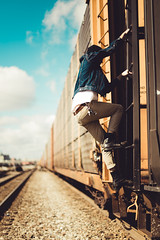 Giles (Cami Rose Photo) Tags: railroad blue portrait sky man lines contrast landscape perspective hipster tracks climbing