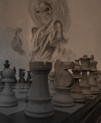 022 (CVR84) Tags: tower wall sepia graffiti chess drawings heavymetal eddie harris effect ironmaiden