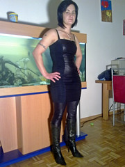 leather look # 4 (trapez) Tags: black sexy stockings girl beautiful beauty leather shiny boots babe lingerie thong string tight schwarz spandex leder lycra leotard leggings stiefel geil schön glänzend glanz stringbody strümpfe thongbody glanzleggings
