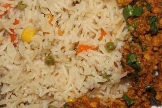 Pilau rice served with spiced kima