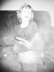 336 of 365 - That's so funny! (★[ the black star ]★) Tags: morning boy blackandwhite bw blur silly laughing kid toddler seahorse things couch kingston stuff shrug thatface noirfilter 336365 theblackstar threehundredthirtysix thelittlemister uploaded:by=flickrmobile flickriosapp:filter=noir