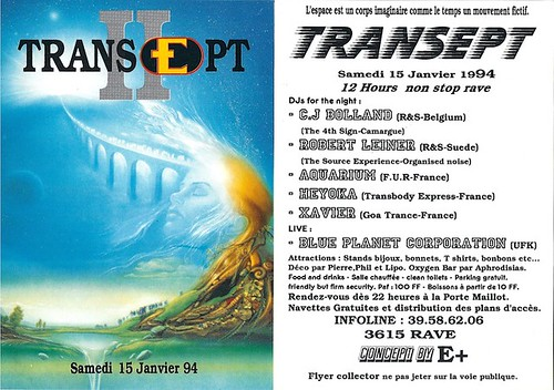 "Patrice Heyoka - Flyer 15/01/1994 - E+ ""Transept II"" (Paris) <a style=""margin-left:10px; font-size:0.8em;"" href=""http://www.flickr.com/photos/110110699@N03/11308029023/"" target=""_blank"">@flickr</a>"
