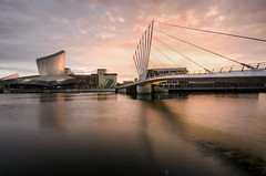 Setting sun over Imperial War Museum (Malajusted1) Tags: city bridge sunset museum manchester media war bbc imperial salford bridgewater itv