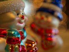 I Like Your Hat! (Shelby's Trail) Tags: christmas winter macro tree glitter bokeh hats ornaments snowmen hbw bokehwednesdays