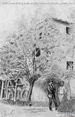 Giulio Cesare Prati Il molino Prati a caldonazzo, disegno a matita con Giulio Prati