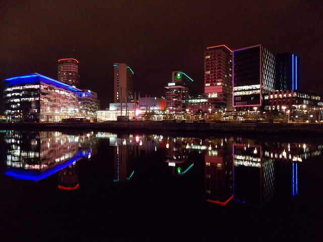 Life in Neon! - Media City in Salford Quays, Salford, Greater Manchester County, England - December 2013