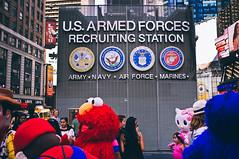 Recruiting Station (Hermann Sabado) Tags: newyork army toystory manhattan hellokitty elmo navy timesquare finepix fujifilm marines airforce recruiting mariobrothers usarmedforces x100