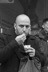 Eat (Bart Booms) Tags: street camera city portrait bw white black eye netherlands souls photography photo nikon flickr utrecht moments o g candid c creative bart going tags scene snap best m explore r crop u squareformat co eyed es moment mons col fa tog fot decisive booms grafie raphy straatfotografie streettog lecting nposed