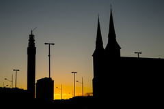 1410218_365_Queensway Silhouettes (Damien Walmsley) Tags: sunset sky tower evening birmingham glow spires spire bttower posts bt queensway lampposts stchadscathedral vision:sunset=0901 vision:outdoor=099 vision:sky=096