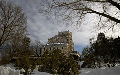 Gillette Castle, Winter Sky (Bob Gundersen) Tags: statepark park old winter usa brown house snow cold building green castle rock stone architecture landscape outside grey photo interesting nikon flickr day exterior image cloudy shots outdoor snowy connecticut country gray picture newengland ct places historical stonewall scenes gillettecastle connecticutriver gundersen conn stonehouse easthaddam nikoncamera d600 gillettecastlestatepark nikond600 connecticutscenes bobgundersen robertgundersen pwwinter