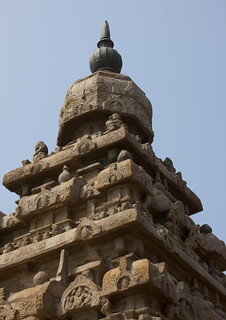 Carved Top Part Of The Shore Temple Of Mahabalipuram, India