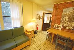 Cabin 9 sofa and table First Landing State Park (vastateparksstaff) Tags: cabin cinderblock 2bedroomcabin