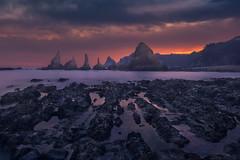 Sunrise in Gueirua (Asturias) (Alejandro García Sepúlveda) Tags: mar nubes sol amanecer rocas agua luces costa arena asturias españa gueirua reflejos largaexposición