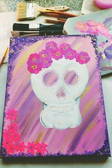 Sugar Skull in Progress (Georgie_grrl) Tags: painting byme artwork acrylic sugarskull workinprogress artingwithmondo flowers pink gold