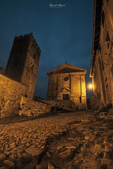 Night In Hum (Robert Marić) Tags: istria istra istrien croatia kroatien adriatic old scenery landscape robert marić sunset clouds magic fantasy hum smallest town church tower night evening lights street historical countryside
